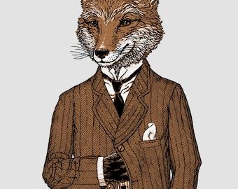 Dapper Fox Animal Print, 8x10 Print, Woodland Animals, Hipster Art Print, Fox Drawing, Animal Art,  Dorm Art, Fox Decor, Fox Art, Fox Print