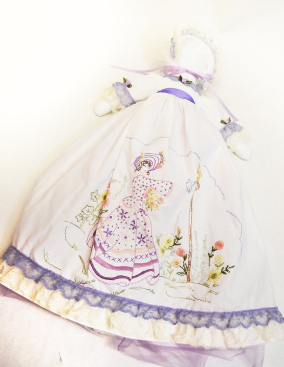 Shabby Chic Body Pillow Pillowcase : Violet Embroidered Crinoline Lady Pillowcase by DeuxPetitesOiseaux