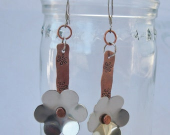 Copper and  Aluminum Flower Earrings