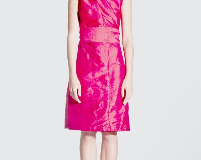 silk wrap dress in kimono style INDIAN PINK colored hot pink