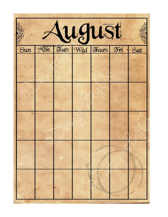 Vintage Calendar Template : Items similar to perpetual calendar blank