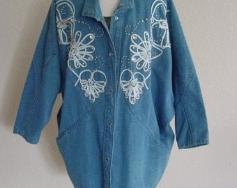 1980s Over Sized Denim Silver Studded Jacket/Casual Coat Outer Wear
