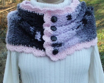 Crochet Cowl Pink Gray Black
