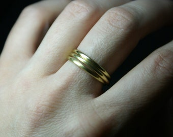 Stack ring, Stackable gold rings, Set of 3, Stacking rings, Gold rings, Brass rings, Smooth rings, Dainty ring, Knuckle ring
