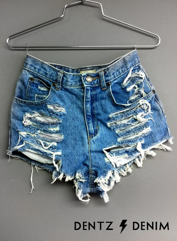High waisted ripped jeans shorts – Global fashion jeans collection