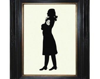 Valentine's Day Art Print Silhouette Gentleman stolen anatomical Heart Victorian Steampunk Art Print Shadow Paper Cut Pirate Rococo