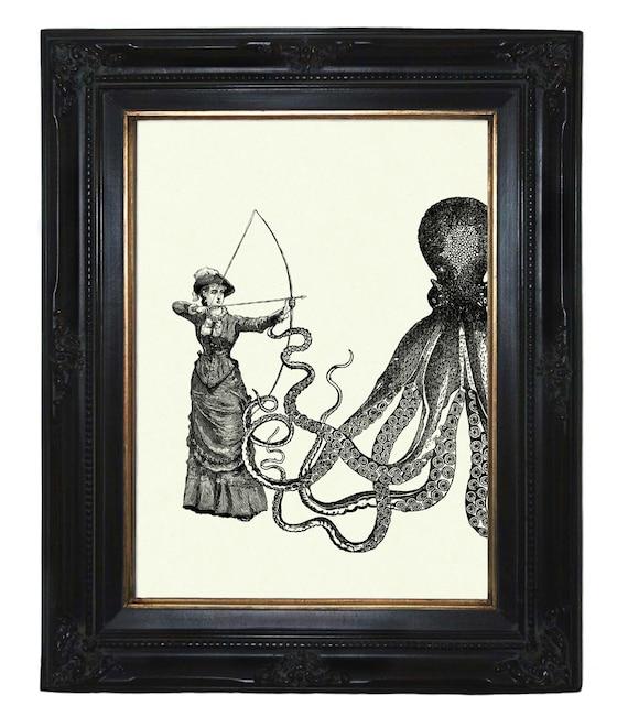 Steampunk Octopus vs Lady shooting a Crossbow Kraken Tentacles gun revolver Victorian art print