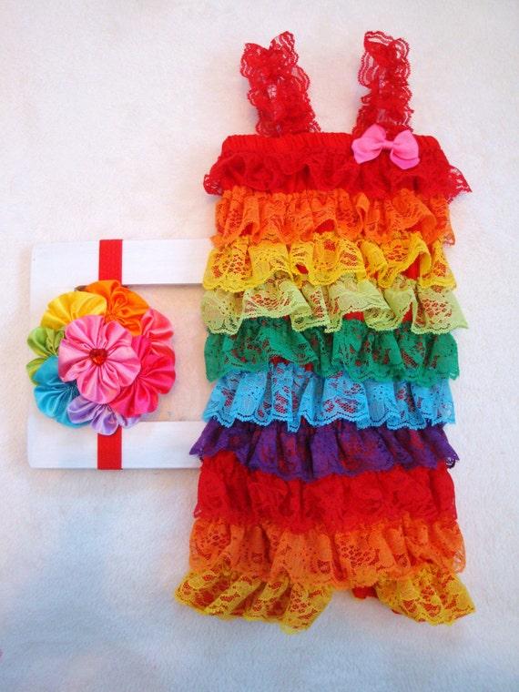 Rainbow Lace Petti Romper & Headband
