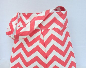 Pleated Hand Bag, purse or medium diaper bag in salmon/white chevron print.