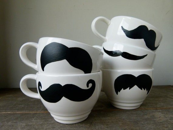Hand Painted Mustache Mugs, Made To Order, Set of Five Mugs, Movember, White Mustache Mugs, Holiday Gift, Groomsmen Gift, Christmas Gift