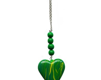 Polymer clay heart necklace Grass green neckace Spring necklace Beadwork necklace Beaded necklace Yellow necklace Heart necklace Casual