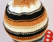 JONATHAN: Handknit boy's hat, toddler/small child size, stripes, loop topper