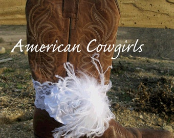 White Lace Cowgirl Boots Bracelet
