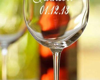 Personalized Mrs. wine glass with last name and established date