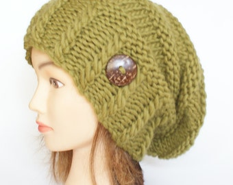 Olive green slouchy beanie hat - knitted slouch hat with button - handknit beanie hat for women - made in Ireland knit from 100% wool yarn