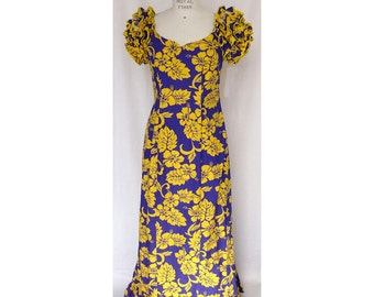 Purple and Yellow Muumuu with Ruffle Sleeves and Bottom - Exclusive Print