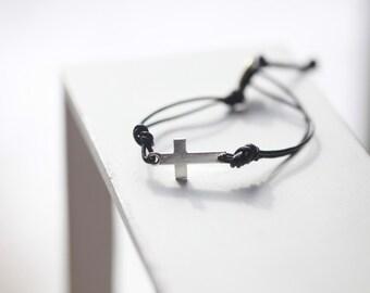 Mens Cross Bracelet - Black Cross - Mens Cross Bracelet