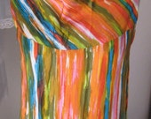 60s or 70s Long Bright Striped Tank Dress
