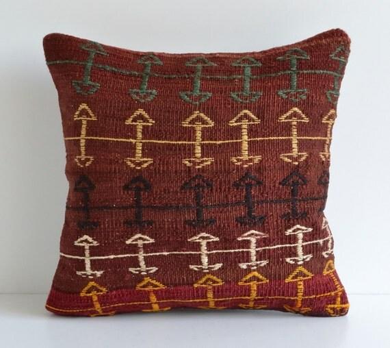 Turkish Kilim Pillow Home Decor Decorative Pillow Home: Turkish Kilim Pillow 16x16 Vintage Bohemian Home Decor Kilim