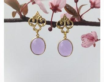 Amethyst Bezel Earring - Fleur de Lis - Dangle Earring - February Birthstone