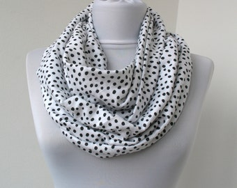 30% OFF SALEWhite Black Dots Cotton Scarf - Infinity Scarf - Loop Scarf - Circle Scarf - Scarf Necklace - 355