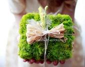 Ring Bearer Pillow: Moss Ring Bearer Pillow - Woodland Wedding, Spring, Summer, Cream & Green