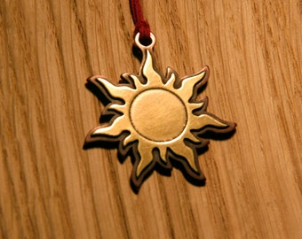 Sun, Brass and copper pendant , handmade metal jewelry