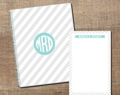Take Notes Set: Gray Striped Personalized Monogrammed Notebook and Gray Striped Personalized Notepad