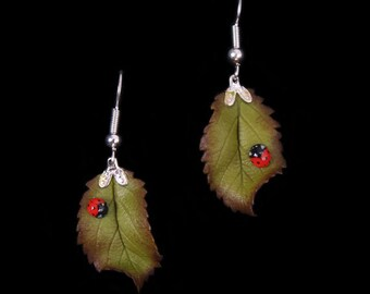 Bramble Leaf and Ladybird Earrings