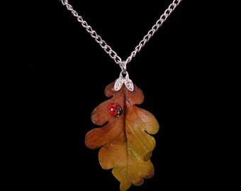 Yellow Oak Leaf and Ladybird Necklace