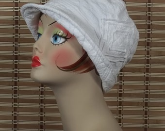 Cotton, cloche hat, 1920s, flapper, Art Deco, designer, chemo, summer, vintage, church hat, size Sm, Med, L. Free shipping in USA.