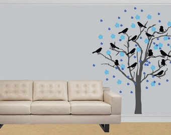 Living Room Decals vinyl decal blowing in the wind flower tree branch wall decal