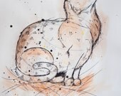 Waiting Cat, ink and watercolour