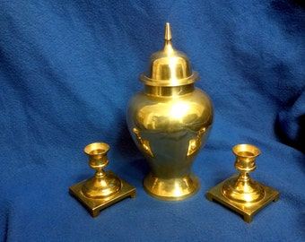 Solid Brass Vase and Candle Holders