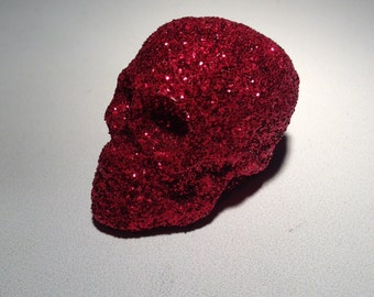 Handmade Red glittery small skull ornament love Valentines day and christmas blood red