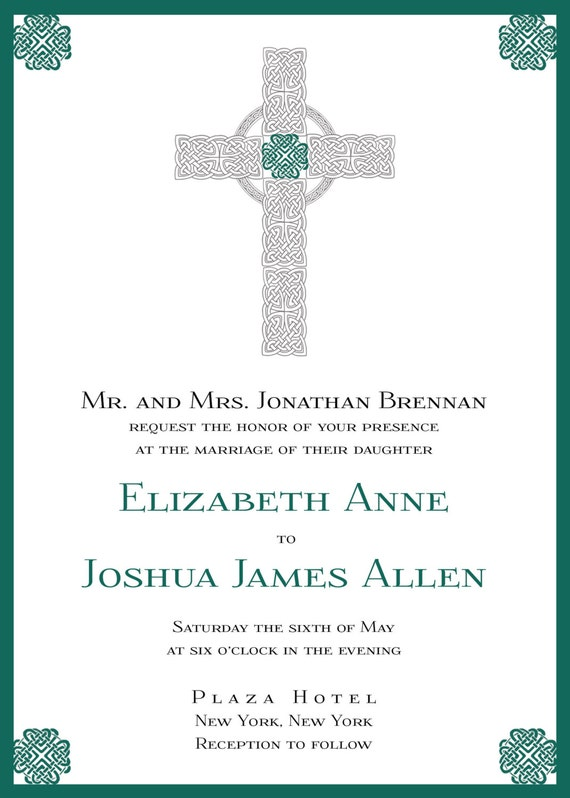 Items similar to irish cross wedding invitation on etsy for Etsy wedding invitations ireland