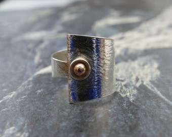 Handmade silver ring with gold detail, wrap ring, textured finish