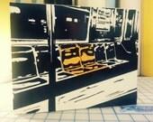Subway Seats - vinyl on 8x10 wood block