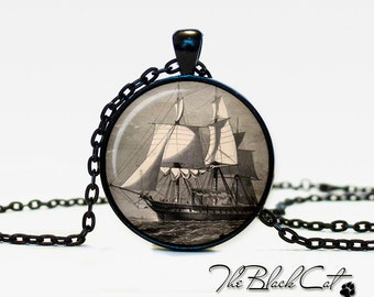 Vintage Ship pendant Vintage Ship jewelry Vintage Ship necklace Antique Style Ship Sea Monsters Antique Nautical Maps (PS0016)