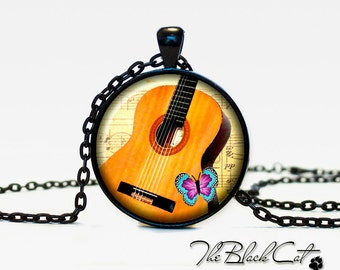 Guitar pendant Guitar necklace Guitar jewelry for musician music pendant (PM0004)