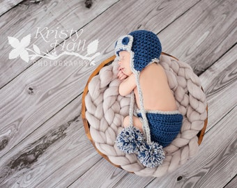 Aviator Outfit for Baby Boy - Baby Hat and Diaper Cover Set -Newborn Baby Boy Outfit- Photography Photo Prop - Newborn Diaper Cover and Hat