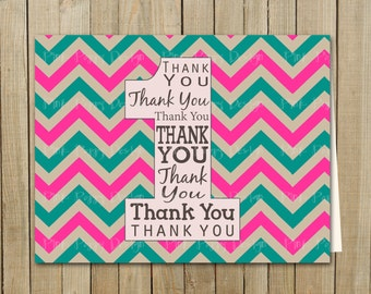 Pink and Turquoise Chevron Thank You One Card, Birthday, Custom Digital File, Printable