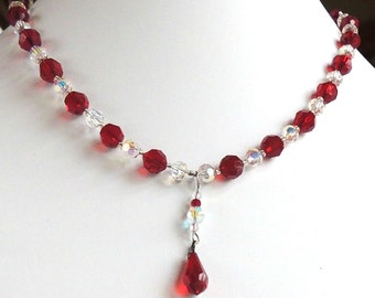 Necklace of red Swarovski crystals with red briolette pendant
