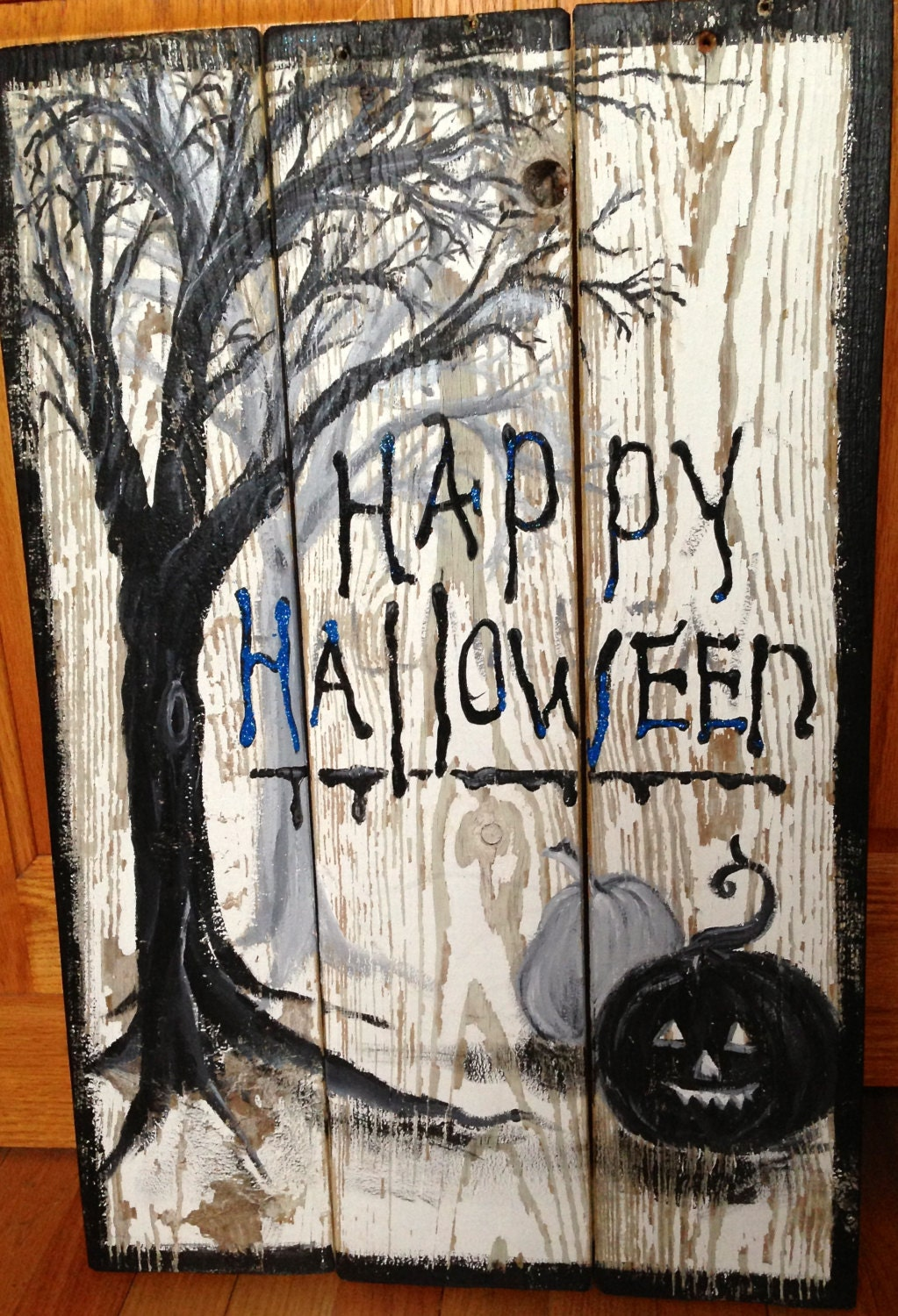Halloween Hand Painted Decorative Sign On Restored Old Wood