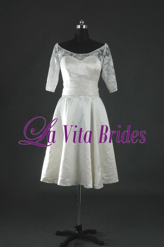 Items Similar To Boat Neck Lace Short Wedding Dress 3 4 Sleeves On Etsy