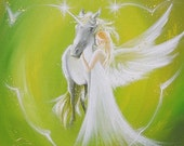 """Limited angel art photo """"deep friendship"""" , modern angel painting, artwork,ideal also for picture frame, gift,spiritual,magic,mystic"""