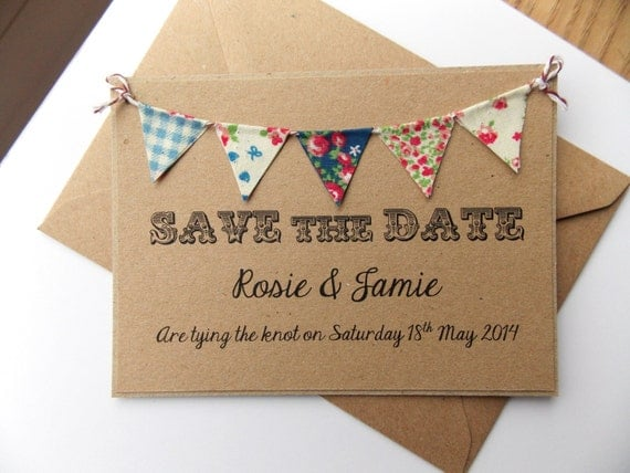 Save The Date Fabric Bunting Wedding Invitation Country Fete