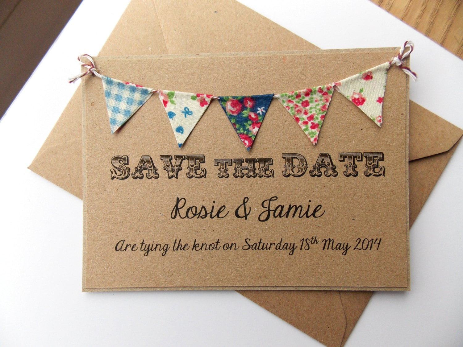 Fabric Wedding Invitations: Save The Date Fabric Bunting Wedding Invitation Country Fete