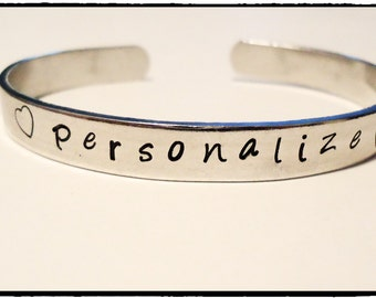 Personalized Bracelet cuff- You choose the words and or the designs stamped on it - made just for you - custom bracelet