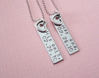 Her One His Only  with date Hand stamped Necklace set - couple set - anniversay or wedding gifts
